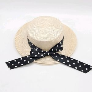 Summer Boater Style  Hat Polka Dots Ribbon